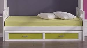 Venta-Muebles - Cama nido blanca / pino mod. tenerife 90 x 190 frontal verde
