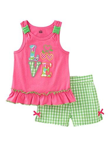 Kids Headquarters Infant Girls Set LOVE Shirt & Gingham Chec