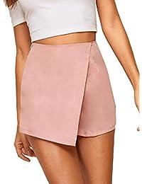 WDIRARA - Falda asimétrica para Mujer con Ribete de Contraste, Cintura Media y Nudo Lateral, Rosado, S