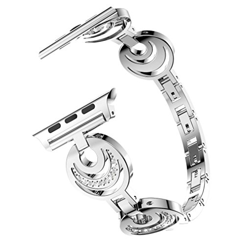 Price comparison product image Watch Band, Boofab Fashion Crescent Type Crystal Metal Watch Band Wrist Strap For Apple Watch Series 1 / 2 / 3 42mm (C)