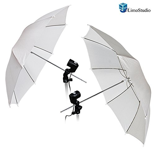 LimoStudio Photography Photo Studio 52 '' White Umbrella Reflector Diffuser with Light Bulb Adapter Holder, AGG1531 by LimoStudio