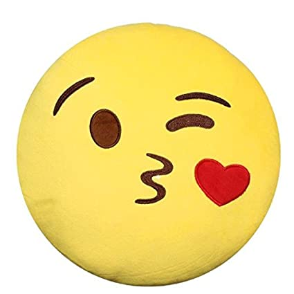 2e1f7a81f Amazon.com: Stuffed Cute Plush Emoji Pillow by FunkyEmoji - Kissy ...