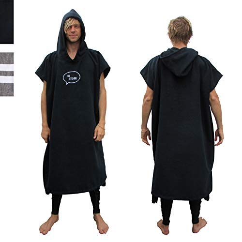 - Ho Stevie! Thick Microfiber Surf Poncho (Wetsuit Changing Robe/Towel) [Choose Color] (Black)