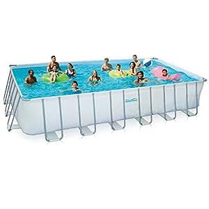 Summer Waves Rectangular Metal Frame Swimming Pool Package, 12' x 24'