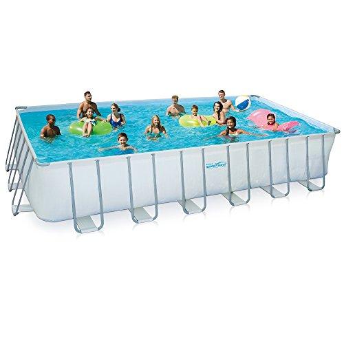 Summer Waves Elite Rectangular Metal Frame Swimming Pool Package, 12' x 24'