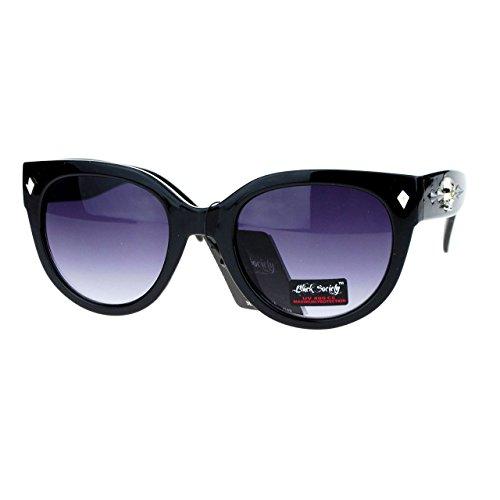 Skull Studded Womens Sunglasses Round Butterfly Fashion Eyewear (black, smoke) - Skull Sunglasses