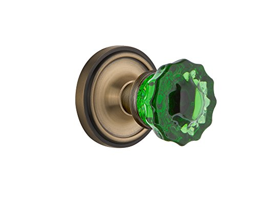 - Nostalgic Warehouse 724085 Classic Rosette Privacy Crystal Emerald Glass Door Knob in Antique Brass, 2.75