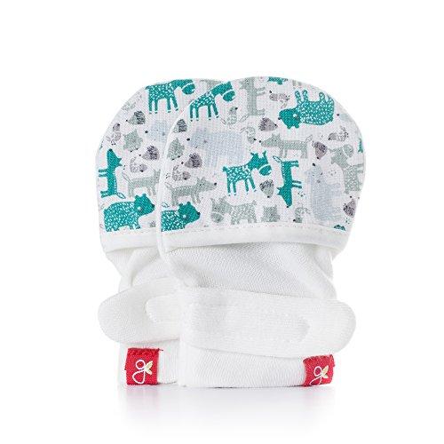 Baby Mittens, Organic, Scratch Free & Germ Resistant (Forest Friends, Aqua, 3-6 Months)