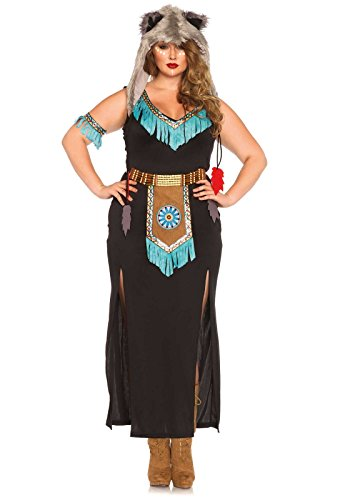 Leg Avenue Women's Plus-Size Wolf Warrior Costume, Black/Turquoise, 1X -