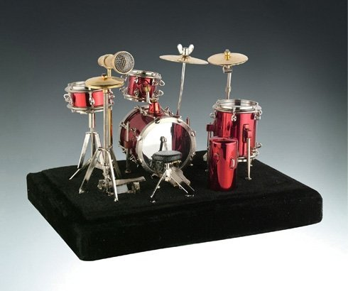 Red Drum Set Music Instrument Miniature Replica on Stand, Size 5 x 5 x 4 - Drum Miniature Set