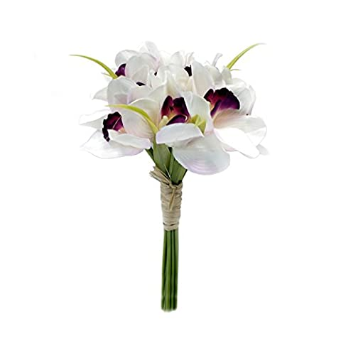 ALEKO F12OR4W Artificial 12 Inches Long 12 Heads Silk Flower Orchids Bouquet, White and Purple Color