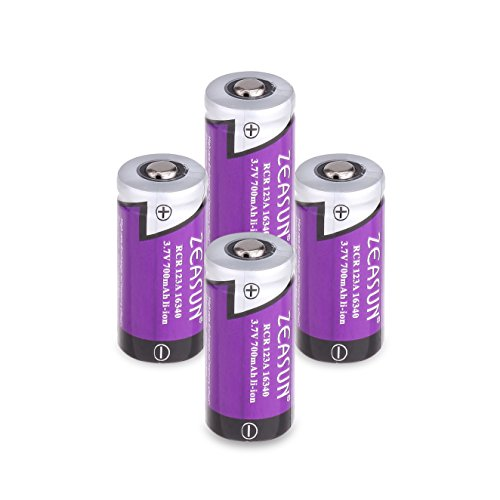 CR123A Rechargeable Batteries[Upgraded] Zeasun 3V 16340(123/123A) Lithium-ion Batteries with Case for Security Camera,700mAh,4 Pack