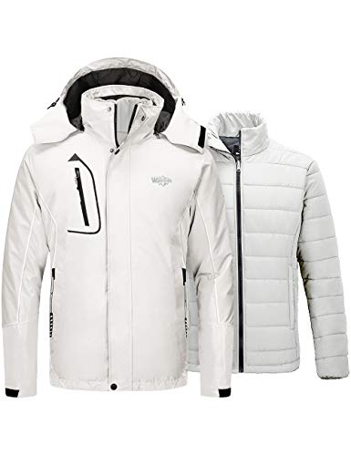 Wantdo Men's 3 in 1 Waterproof Ski Jacket Warm Winter Snow Coat Puffer Rain Jacket
