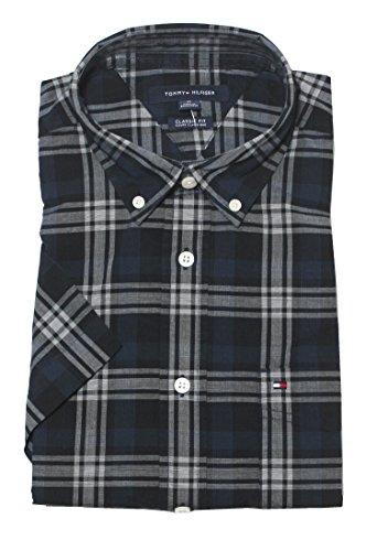 Tommy Hilfiger Men's Classic Fit Short Sleeve Buttondown Shirt (Large, Black Iris)