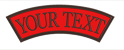Large Name Patch Custom Personalized Top Rocker Patch Iron-on Sew on Size 4.00Hx11.40W inches Color Red (Red And Black Rocker Patch)