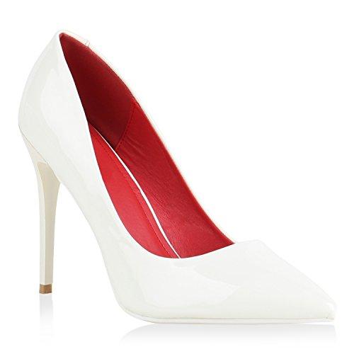 Stiefelparadies Spitze Damen Pumps Stiletto High Heels Lack Glitzer Party Schuhe Denim Snake Velours Elegante Abendschuhe Flandell Weiß