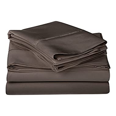 1200 Thread Count 100% Premium Long-Staple Combed Cotton, Single Ply, Queen Bed Sheet Set, Solid, Charcoal