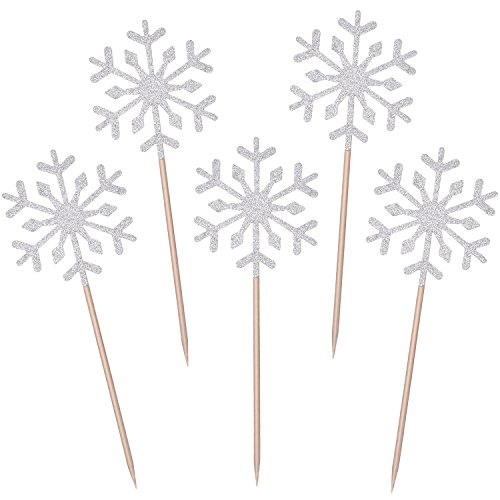 TOODOO 60 Pack Snowflake Cupcake Toppers Glitter Snowflake Cake Topper Picks for Christmas Birthday Party Baby Shower Wedding Cake Decoration Silver