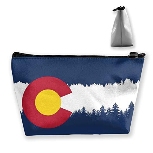- Women Girls Makeup Cosmetic Case Pouch for Cosmetics Digital Accessories Trip, Large Capacity Travel Makeup Train Case Multifunction Tote Bag, USA Colorado State Skyline Flag