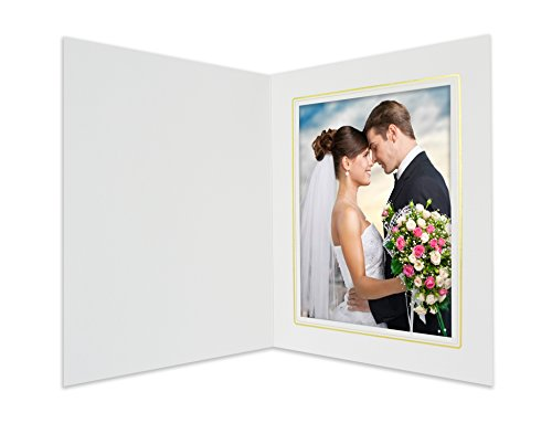 (Golden State Art, Cardboard Photo Folder for a 6x8 Photo, (Pack of 25) White with Gold Lining)