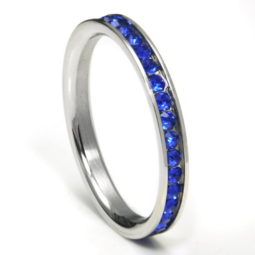 316L Stainless Steel Royal Blue Cubic Zirconia CZ Eternity Wedding 3MM Band Ring Sz