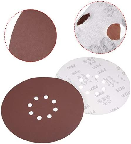 10Pcs 9-hole, 8-hole hook and loop sanding disc 800 grain float sandpaper Random orbital sanding paper