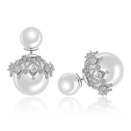 I's Fashion Jewelry Double Sided Front Back Shell Pearl Beaded Silver Tone Stud Earrings for Women (White -