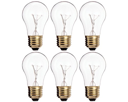 (Pack Of 6) 60A15/CL - 60-Watt A15 Incandescent Oven Bulb - Appliance Bulb - Clear Finish - Medium ()