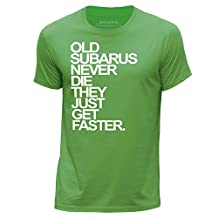 STUFF4 Men's Large (L) Green Round Neck T-Shirt/Old Subarus/Subaru Never Die