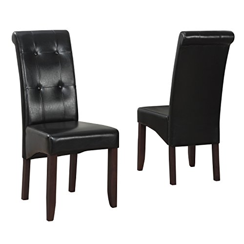 simpli home deluxe tufted parson chair midnight black set of 2