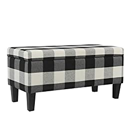 Kinfine Large Upholstered Storage Ottoman Bench with Hinged Lid