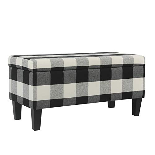 HomePop Large Upholstered Rectangular Storage Ottoman Bench with Hinged Lid, Black Buffalo Plaid