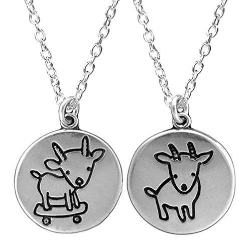 - Reversible Sterling Silver Skateboarding Goat Necklace on 18