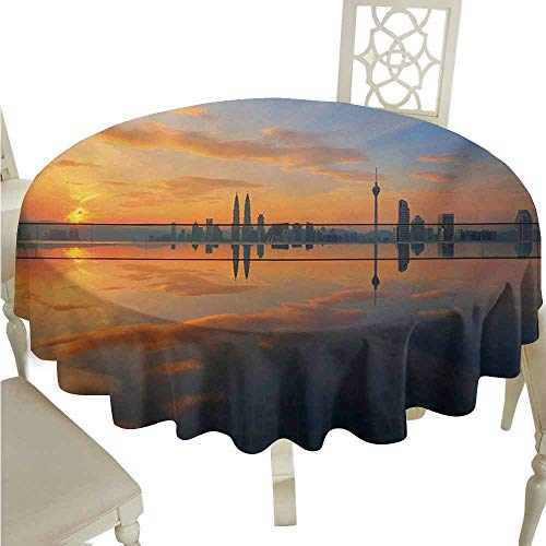 sashimii Landscape Oil-Proof Tablecloth Magical Sunrise at The Pond with Sky View Morning Serene Silent New Day Image Easy Care D71 Orange Blue