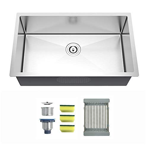 MENSARJOR 27-inch Undermount Single Bowl Kitchen Sink - 18 Gauge Handmade Stainless Steel Sink