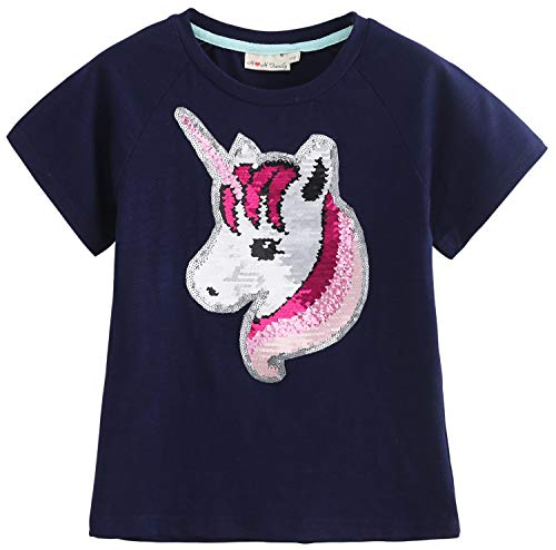 Flip Sequin Unicorn Shirt Top for Girls 3-12 Years (4, Fairy Navy Short)