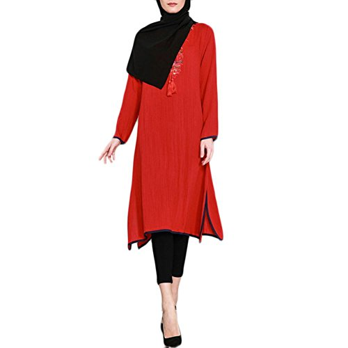 FEITONG Muslim Women Islamic Printed Long Sleeves Plus Size Long Dress(XL,Red) by FEITONG