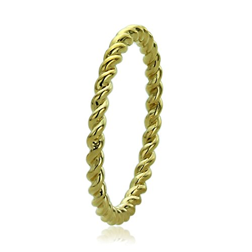 14K Yellow Gold 2mm Plain Band Braided Rope Design Wedding Band