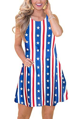 July 4th Women Beach Patriotic Tank Dress Summer Casual Swing Mini Sundress American Flag L