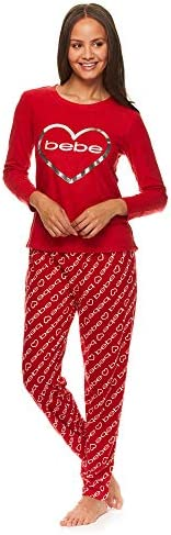 bebe Womens Fleece Cuffed Long Sleeve Shirt and Lounge Pajama Pants Sleep Set