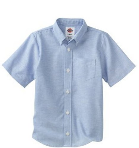 (Dickies Big Boys' Short Sleeve Oxford Shirt, Light Blue, Medium (10/12))