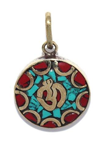 (Om pendant, Turquoise pendant, Coral Pendant, Tibetan pendant Boho pendant PB261)