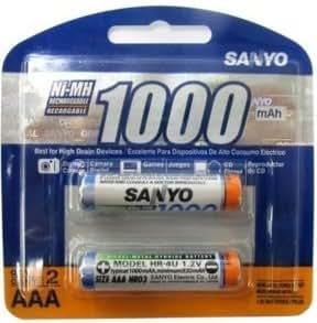 Amazon.com: Sanyo 2-Pack AAA NiMH Rechargeable Batteries