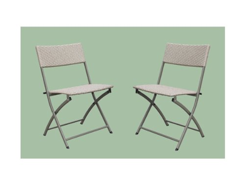 International Caravan YF-8031-CH/AB-IC Furniture Piece Set of 2 Resin Wicker Folding Chairs
