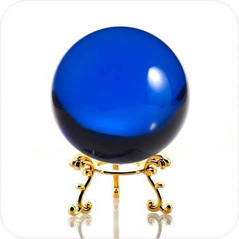 (Amlong Crystal Blue Crystal Ball 60mm (2.3 in.) Including Golden Flower Stand and Gift)
