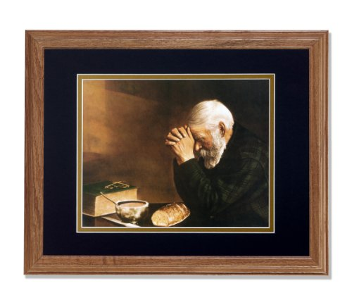 Bread Grace - Daily Bread Man Praying at Table Grace Religious Wall Picture B/G Matted 13x16 Oak Framed Art Print