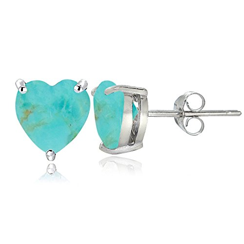 Sterling Silver Simulated Turquoise Heart Stud Earrings ()