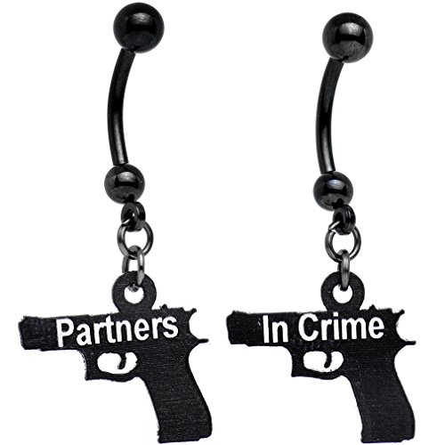Body Candy Handcrafted Black Anodized Partners in Crime Best Friends Dangle Belly Ring Set