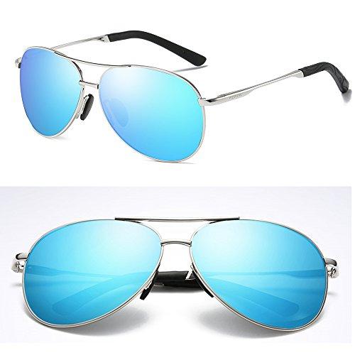 sol Silver gafas aviador 400 de para hombres y aluminio unisex protección sol de UV vintage mujeres para Gafas Blue Ice de 100 Aoron polarizadas zR8qEW18n