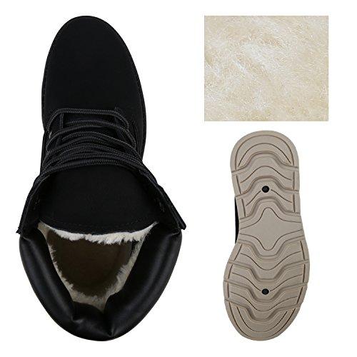 Stiefelparadies Damen Stiefeletten Warm Gefütterte Worker Boots Outdoor Schuhe Flandell Schwarz Carlet